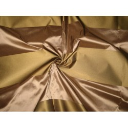 "Silk Taffeta Fabric Golden Khakhi Green & Brown Stripes 54"" wide sold by the yard"