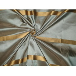 "Silk Taffeta Fabric Blue x Brown with Gold Satin Stripe TAFS69[2] 54"" wide sold by the yard"
