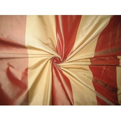 "Silk Taffeta Fabric Light Gold & Cherry Red Stripes 54"" wide sold by the yard"