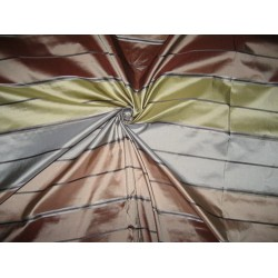 Silk Taffeta Fabric Blue,Brown & Green w/ Satin Stripes