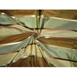 "100%  Silk Taffeta Fabric Blue,Brown & Grey w/ Satin Stripes TAF#S70[2] 54"" wide by the yard"