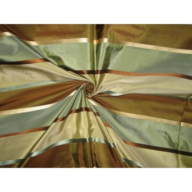 Silk Taffeta Fabric Blue,Brown & Grey w/ Satin Stripes