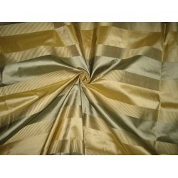 SILK TAFFETA FABRIC Green & Gold stripes with jacquard