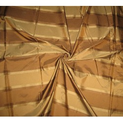 SILK TAFFETA FABRIC Light,Dark Brown & Gold w/ jacquard  Taf#S68[1]