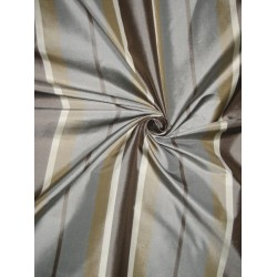 Silk Taffeta Fabric Shades of Brown & Blue Stripes