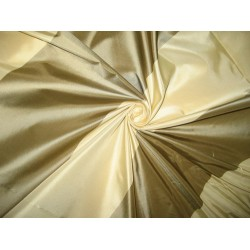 Silk Taffeta Fabric Light gold & Golden Green stripes