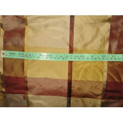 SINGLE LENGTH OF 3.35 YARDS SILK TAFFETA FABRIC Gold,Taupe & Maroon Satin Plaids TAFCS1[4]