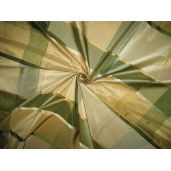 SILK TAFFETA FABRIC Gold,Green & Cream satin plaids TAFCS1[3] by the yard