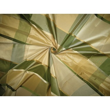 SILK TAFFETA FABRIC Gold,Green & Cream satin plaids