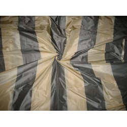 Silk Taffeta Fabric Dark Cream & Steel Grey Stripes