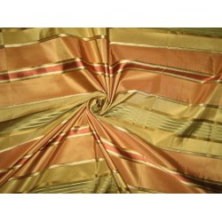 "Silk Taffeta Fabric Rust,Green & Gold with Satin Stripe TAFS83[1] 54"" wide sold by the yard"