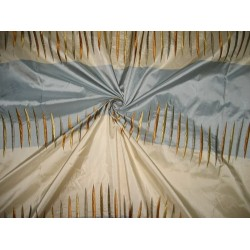 SILK TAFFETA FABRIC Blue & Cream stripes with jacquard