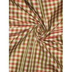 100%  Silk Taffeta Fabric Pink,Green & Ivory plaids Taf#C34 sold by the yard