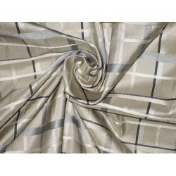 SILK TAFFETA FABRIC Silver,Grey & Ivory satin plaids TAFCS#1