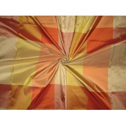 "100% Pure Silk Taffeta Fabric salmon/mustard/gold/rust multi color plaids TAFC6[2] 54"" wide sold by the yard"