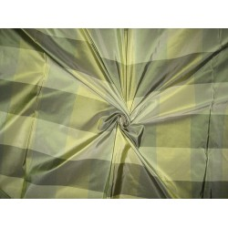 "100% Pure Silk Taffeta Fabric Shades of Green plaids 54"" wide sold by the yard"