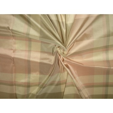 100% Pure Silk Taffeta Fabric Pink,Grey & Cream plaidsTAFC32[4]