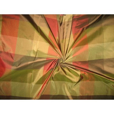 Silk Taffeta Fabric Shades of Red,Brown & Green plaids