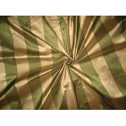 Pure Silk Taffeta Fabric Antique Gold & Green plaids