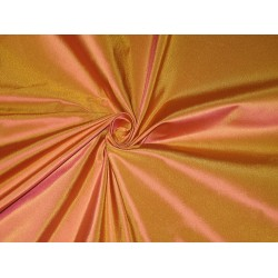 "100% Pure SILK TAFFETA FABRIC Mango Orange x Pink Shot TAF161 54"" wide sold by the yard"