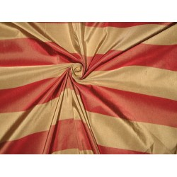 Silk Taffeta Fabric Dark Red & Dark Beige stripes 54""