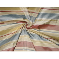 Silk Taffeta Fabric Red,Blue,Cream,Gold & Ivory stripes