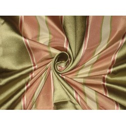 Silk Taffeta Fabric Ivory,Green & Pink /w satin stripe