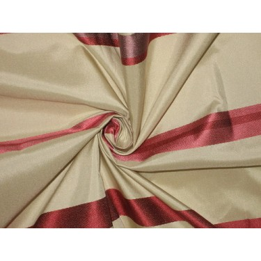 Silk Taffeta Fabric Champagne with satin stripes 54""