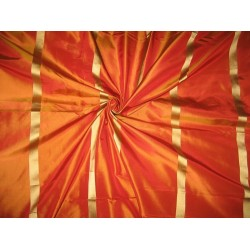 "Silk Taffeta Fabric Orange x Gold /w Gold satin stripe 54"" wide sold by the yard"
