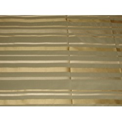 SILK Taffeta FABRIC greyish blue with gold satin stripe