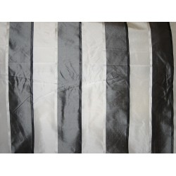 Silk Taffeta Fabric Charcoal & Ivory satin stripes 54""