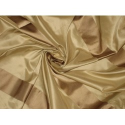 Silk Taffeta Fabric Gold with Beige satin stripes 54""