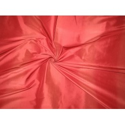 Silk Taffeta Fabric Tomato Red & Dark Coral stripes