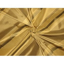Silk Taffeta Fabric Blackish Green & Gold stripes 54""