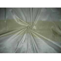 Silk Taffeta Fabric Very Light Blue & Olive stripes