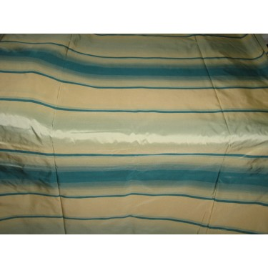 Silk Taffeta Fabric Shades of Icy Blue & Gold stripes