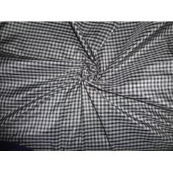 SILK TAFFETA FABRIC OF BLACK X WHITE CHECKS
