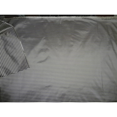 Silk taffeta fabric grey horizontal stripes