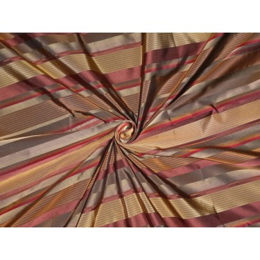 "Silk Taffeta Fabric dark browns& satin stripes 54"" *"