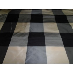 "Silk Taffeta Fabric Dark Cream / Grey / midnight black  4x 4"" plaids TAFC44  by the yard"