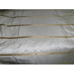 "SILK TAFFETA FABRIC CHAMPAGNE WITH GOLD SATIN STRIPES 54"" *TAFS124"