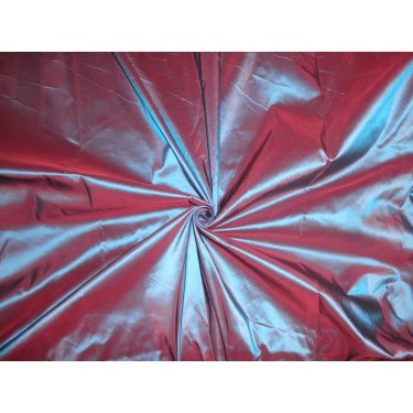 Silk taffeta fabric bright blue x wine iridescent 54""