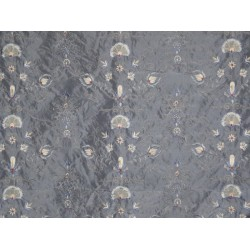 SILK taffeta Fabric Floral Embroidery  Icy Blueish/grey