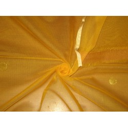 Yellow WEDDING SILK TULLE GOLD BORDER & GOLD POLKA DOTS FABRIC