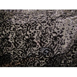 devore Polyester viscose burnout black Velvet fabric