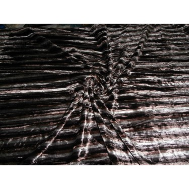 "100% crushed Velvet fabric 44""-discharge printed-brown stripes"