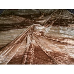 "100% crushed Velvet fabric 44""-printed-3 colour brown stripes"