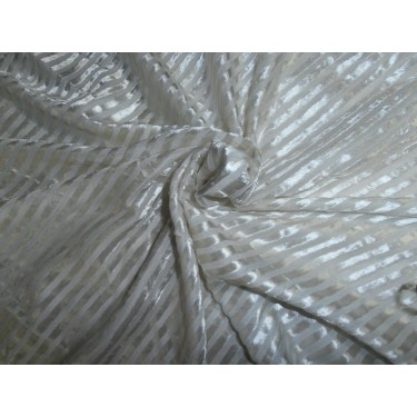 devore  burnout white Velvet fabric-stripes