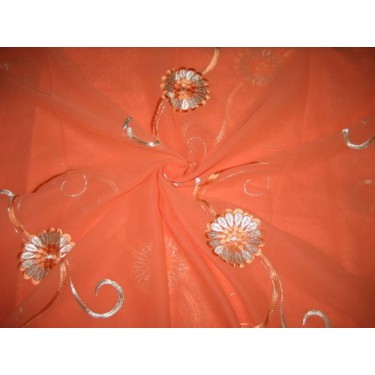 cotton voile fabric~Coral with embroidery-5 yards