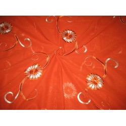 cotton voile fabric~Orange with embroidery-5 yards-44""
